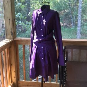 Eshakti purple shirt dress with sash contour waste